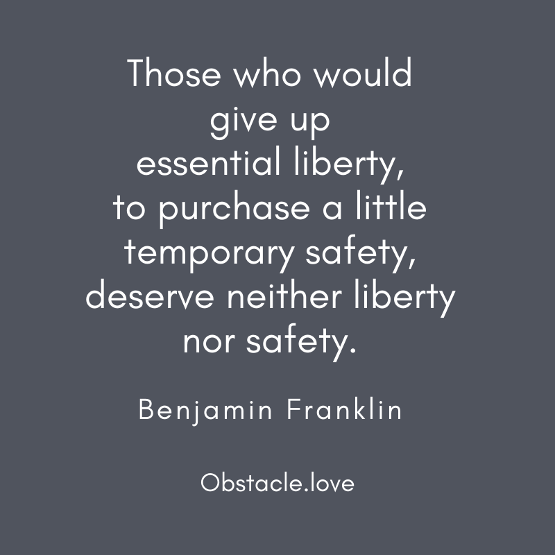 Benjamin Franklin quote on liberty and safety.